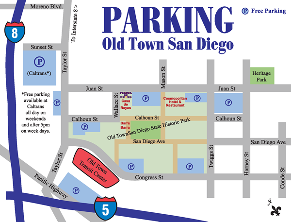 Map of parking spots in Old Town