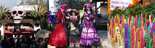 Photo of several Dia de los Muertos decorations at Fiesta de Reyes
